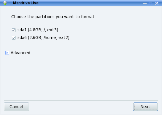 Partitioning format
