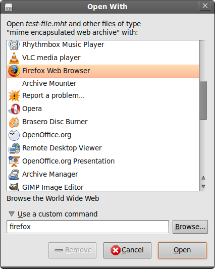 How to open  mht files in Firefox on Linux