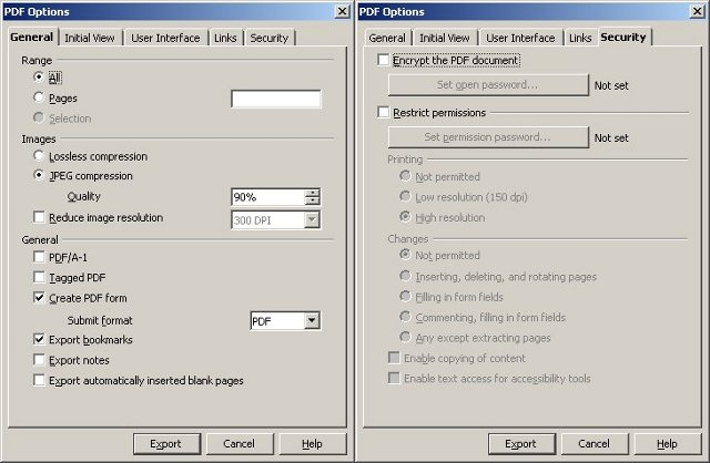 OO PDF conversion options