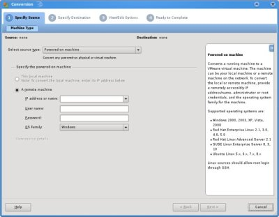 Convert virtual machines with VMware Converter