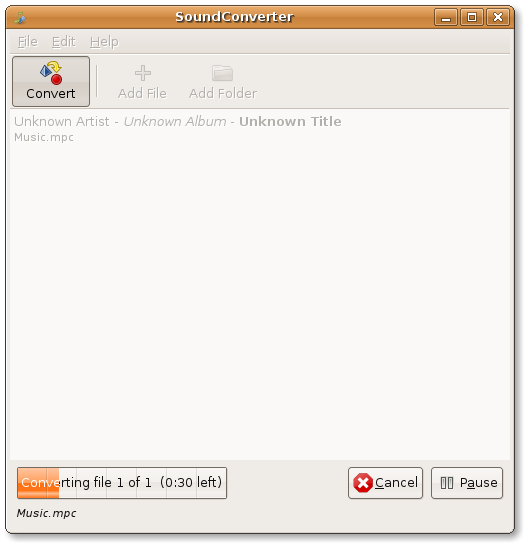 audio conversion SoundConverter working