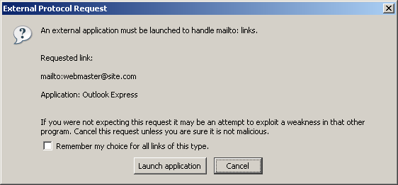 Browser mailto link warning
