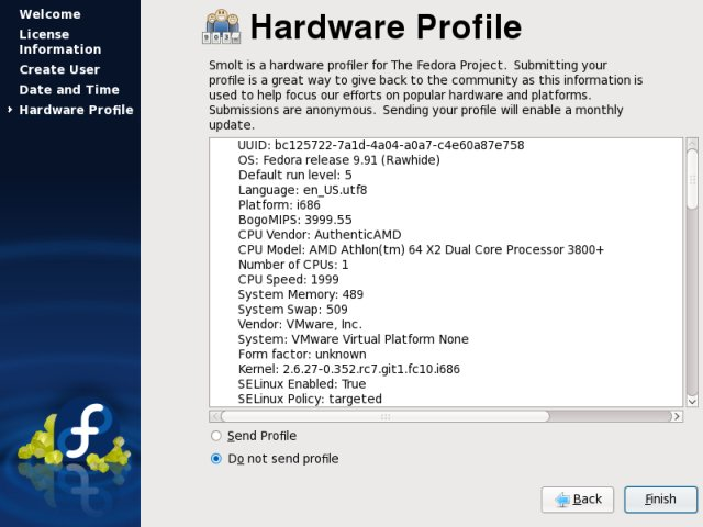 Fedora hardware profile