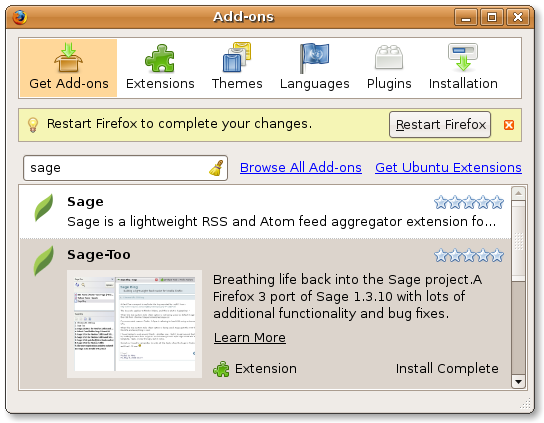 Firefox add-ons sage install complete