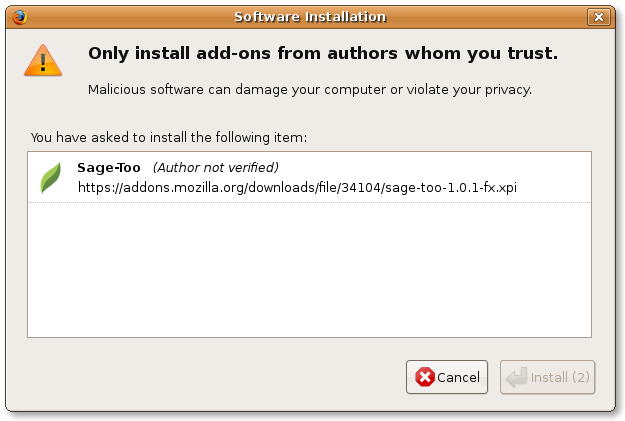 Firefox add-ons safe confirm