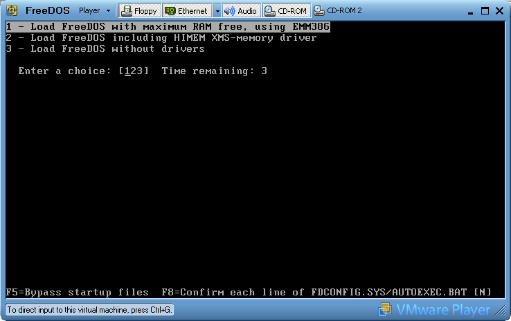 1 load freedos with maximum ram free using emm386