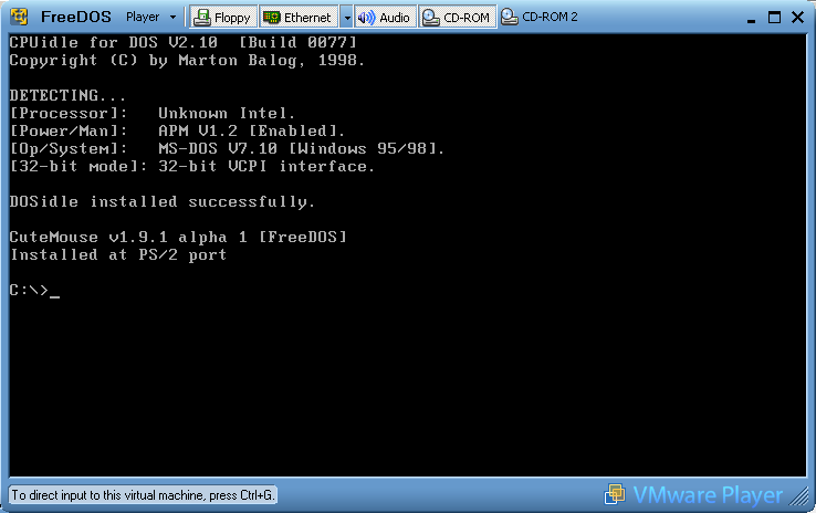 FreeDOS successful boot