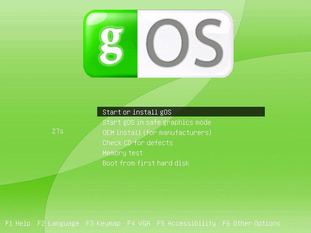 gOS start screen