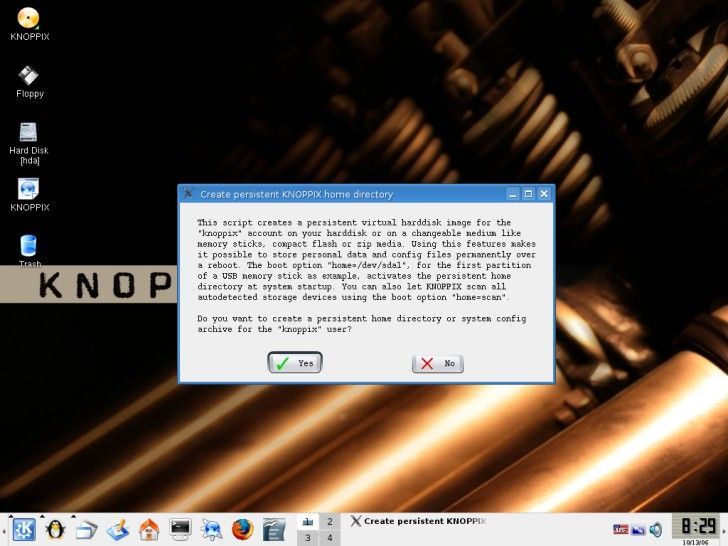 Knoppix create disk image