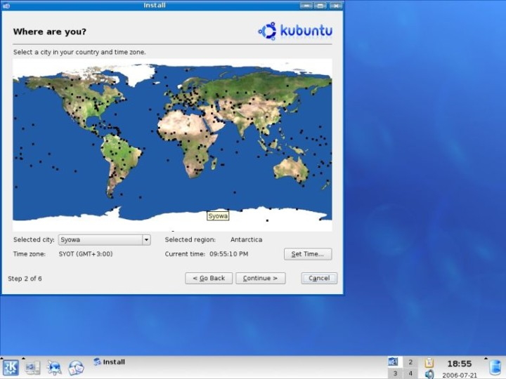 Kubuntu country and time zone options