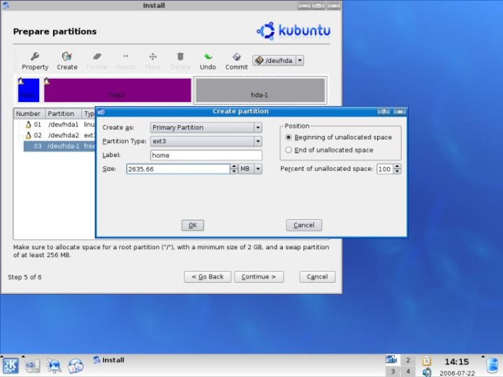 Kubuntu create home partition details