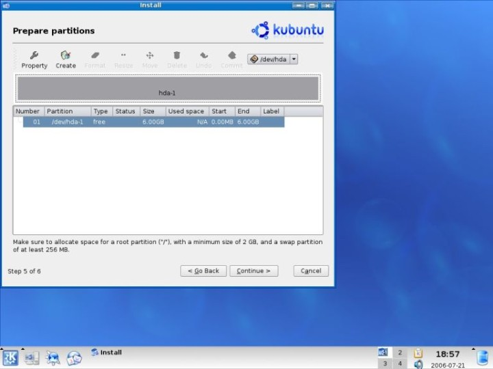 Kubuntu create swap partition