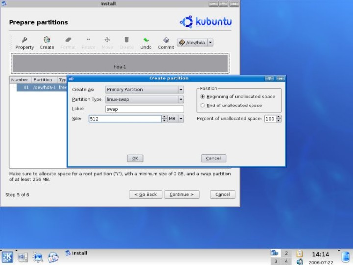 Kubuntu create swap partition details