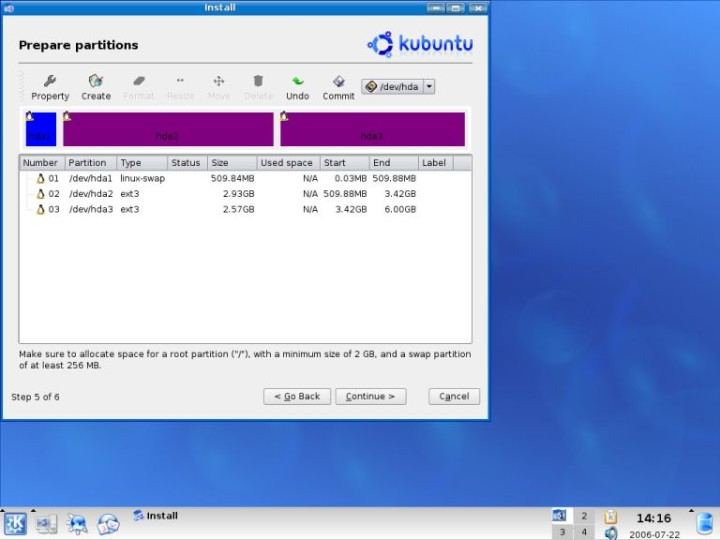 Kubuntu home partition created