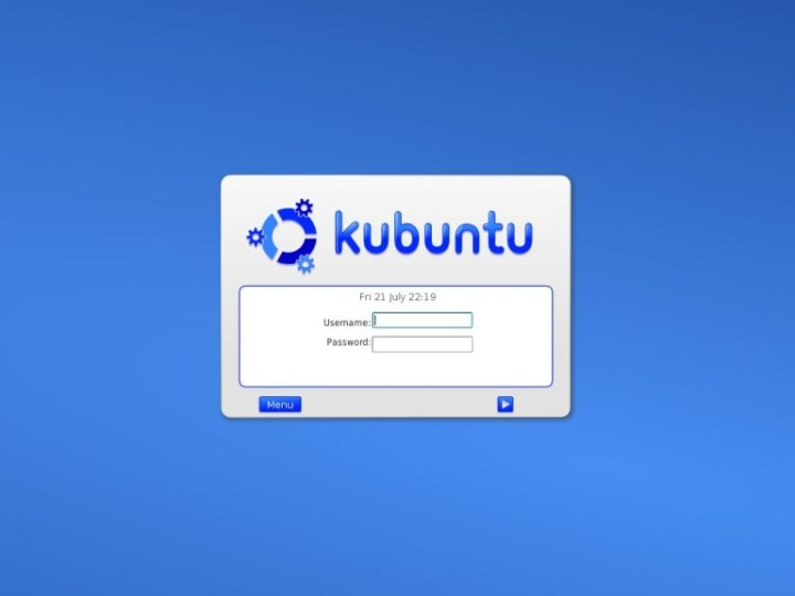 Kubuntu login screen