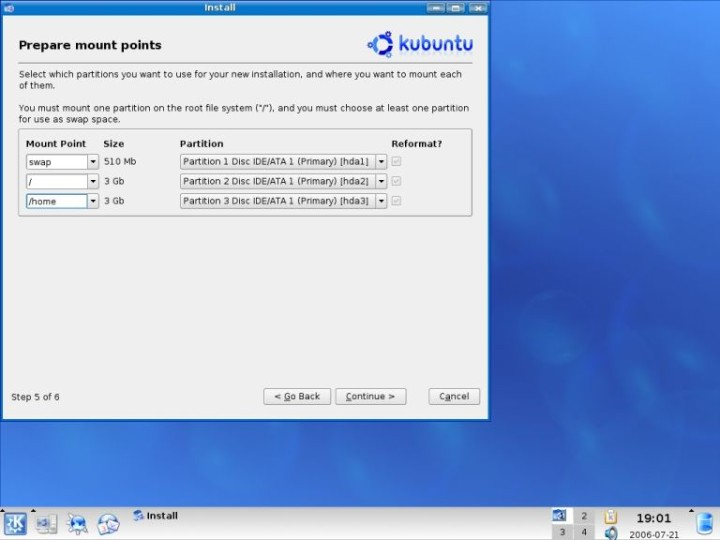 Kubuntu prepare mount points