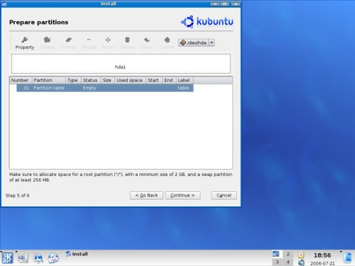 Kubuntu create a partition table