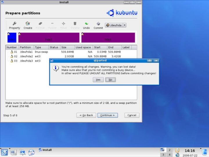 Kubuntu qtparted warning about commiting changes