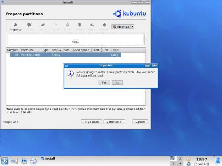 Kubuntu qtparted warning about new partition table