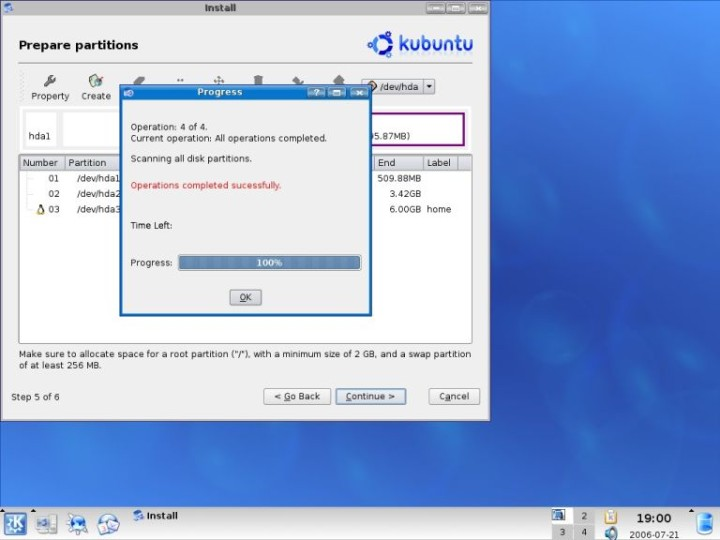 Kubuntu qtparted operations completed