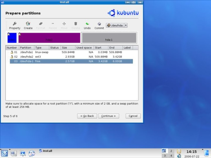 Kubuntu root created create home partition