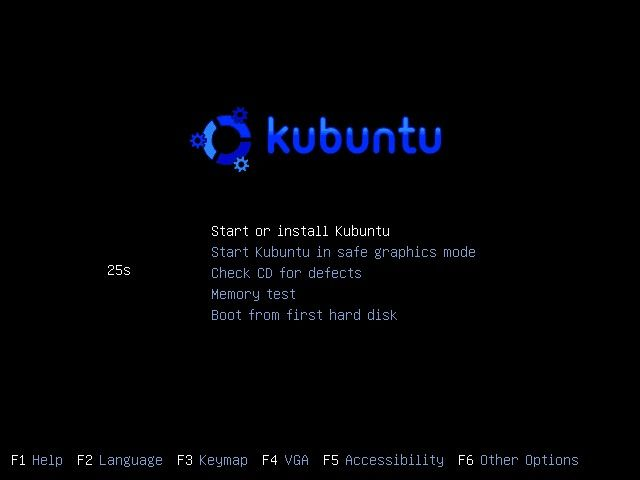 Kubuntu boot options