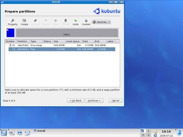 Kubuntu swap created create root partition
