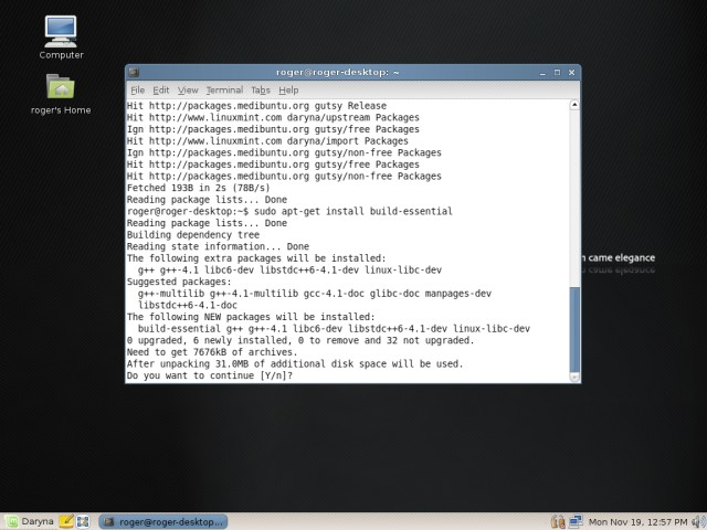 Linux Mint apt-get built essential