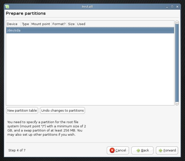 Linux Mint partitioning create partition table