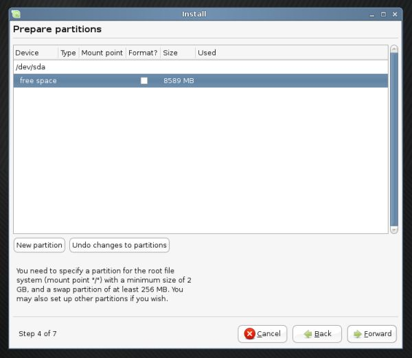 Linux Mint partitioning new partition