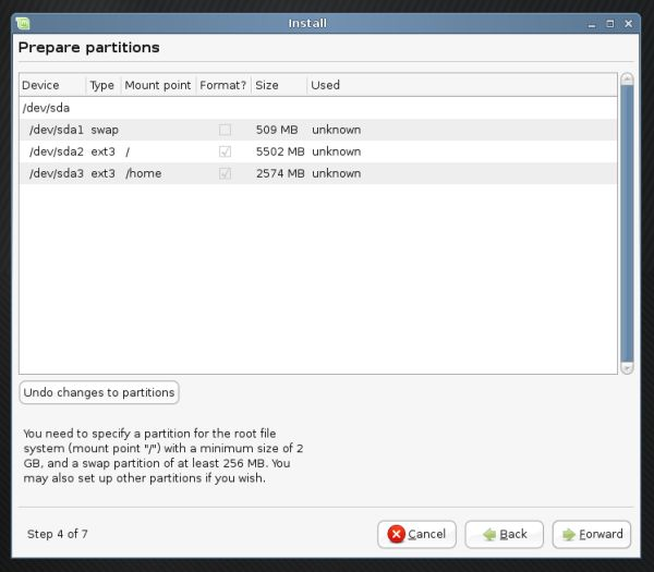 Linux Mint partitioning ready
