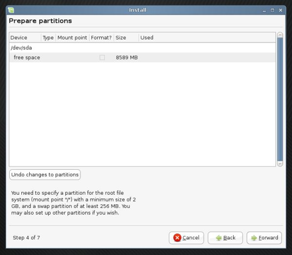 Linux Mint partitioning table created