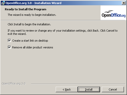 OpenOffice 3 Windows install