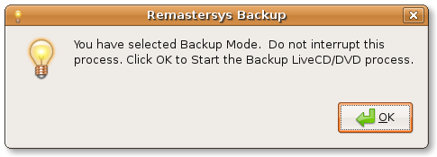 Remastersys GUI backup start