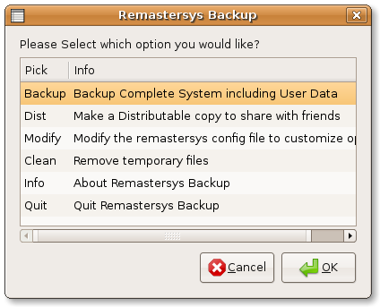 Remastersys GUI backup
