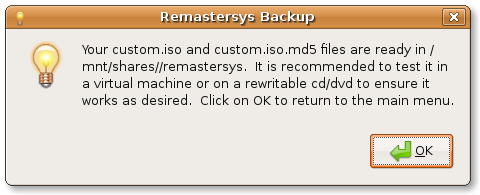 Remastersys GUI backup complete
