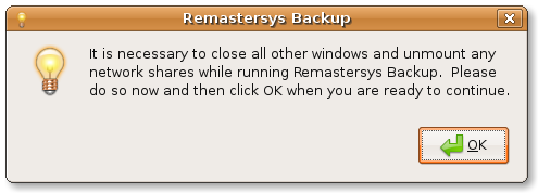 Remastersys backup warning