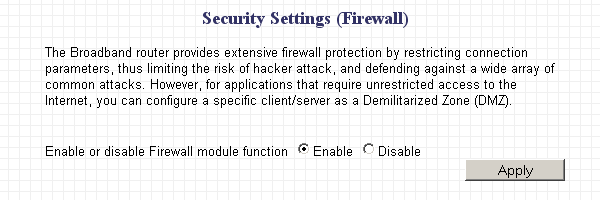 Router firewall function