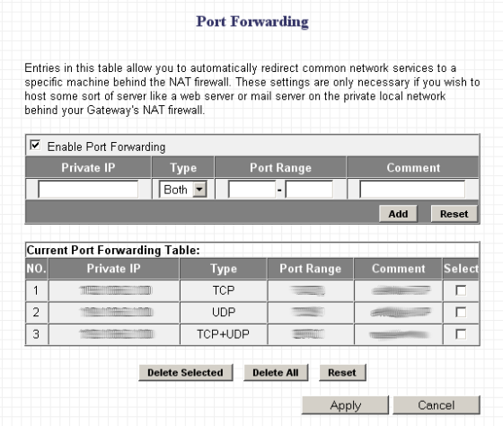 Router port forwarding