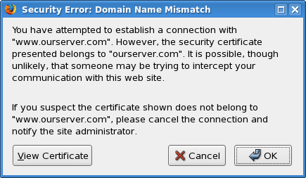 Secure connection - domain name mismatch