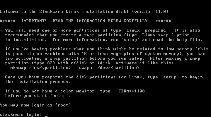 Slackware install instructions