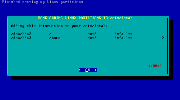 Slackware setup partitioning done
