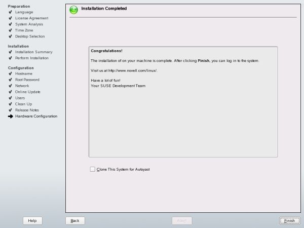 SUSE installation completed