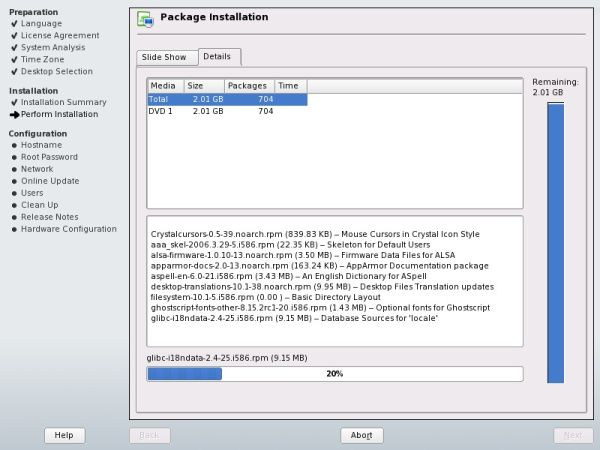 SUSE package installation details