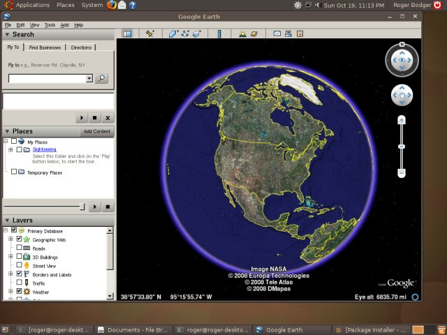 Ubuntu 8.10 Google Earth 2