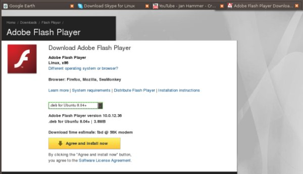 Ubuntu 8.10 install flash player