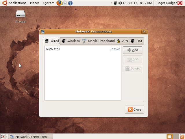 Ubuntu 8.10 network manager
