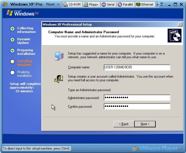Setting admin password