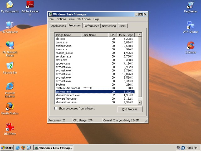 XP profiles task manager testing