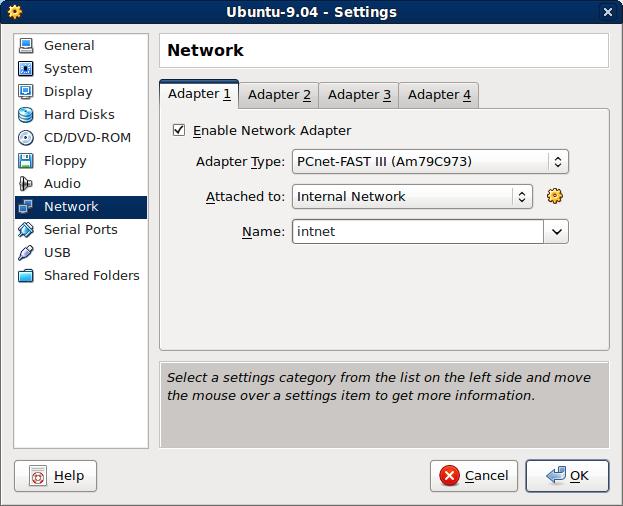 virtualbox internal network not working